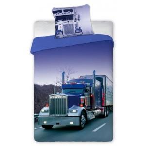 Bavlnené detské obliečky na posteľ s motívom kamióna