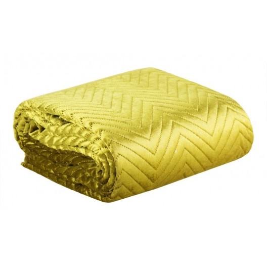 Prešívaný prehoz do spálne v elegantnej žltej farbe