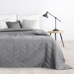 Tmavo sivý prehoz na posteľ s moderným prešívaním