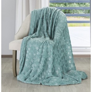 Jednofarebná deka v mentolovej farbe s tlačeným motívom kvetov