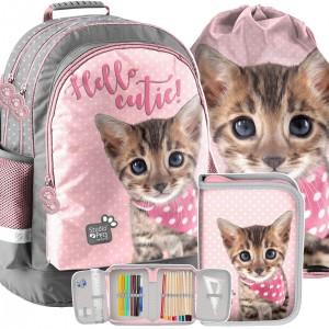 Školská taška s peračníkom a vreckom s motívom mačky