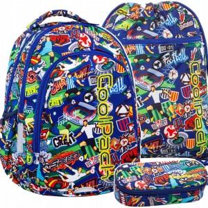 Trojdielny set školskej tašky batohu pre chlapcov s trendy potlačou futbalu