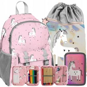 Školská taška pre dievčatá s lesklým vakom a peračníkom