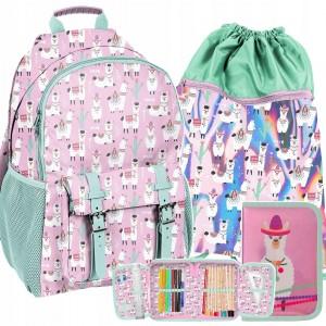 Mentolovo ružový batoh s vakom a peračníkom