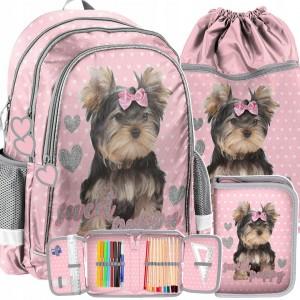 Ružová školská taška so psíkom