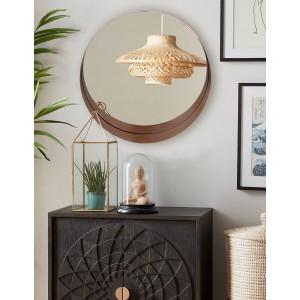 Štýlové závesné okrúhle zrkadlo v škandinávskom štýle v medenej farbe