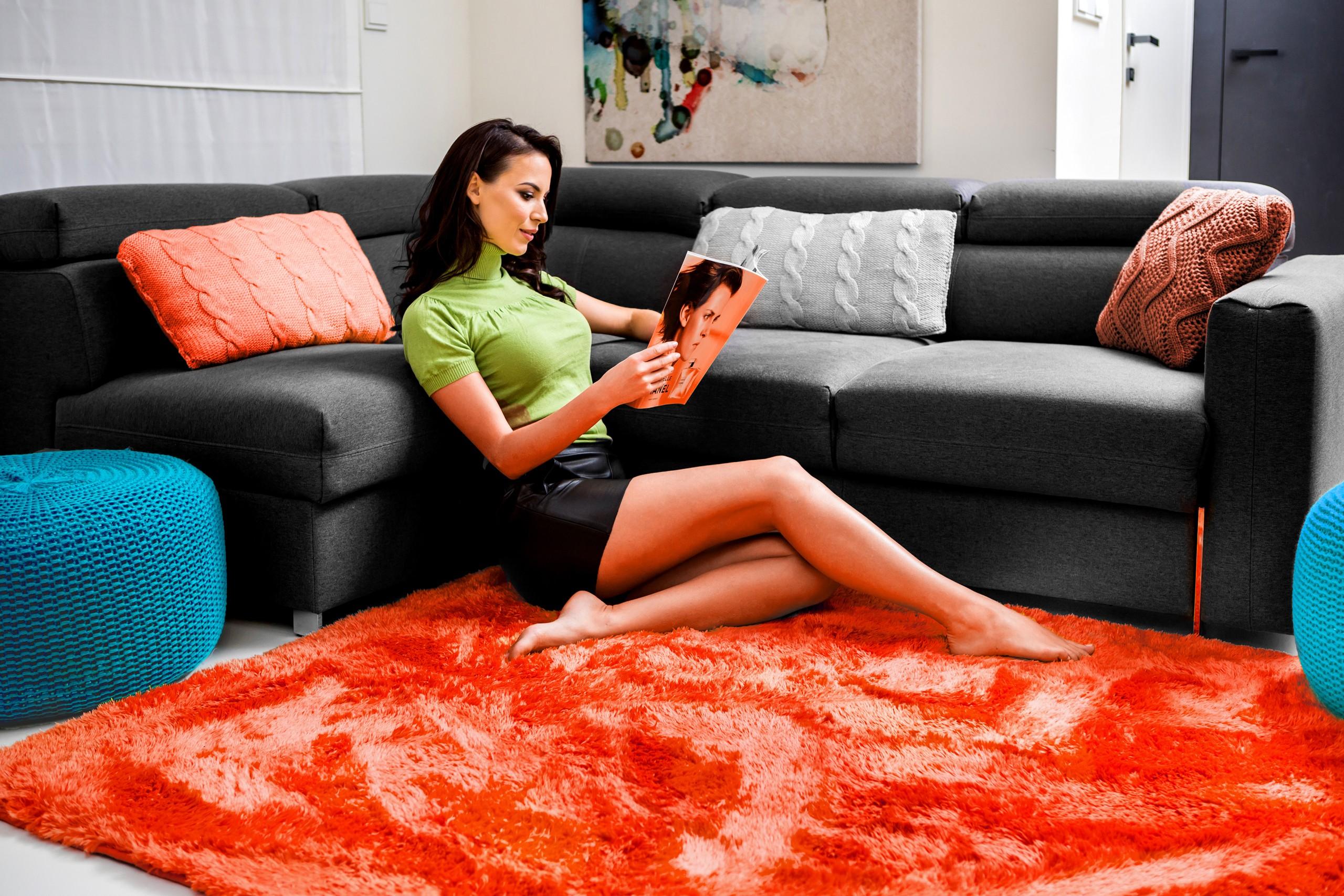 DomTextilu Luxusný plyšový koberec koralovej farby 140 x 200 cm 17365