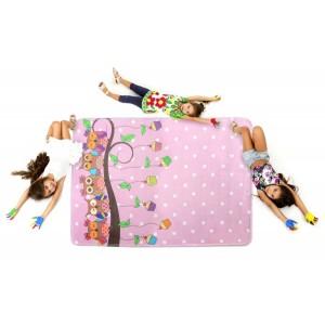 Detský koberec so sovičkami v ružovej farbe