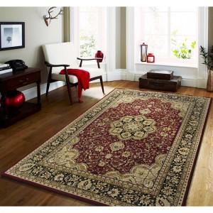 Štýlový koberec v červenej farbe s krémovými vzormi