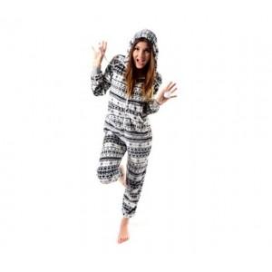 Teplé dámske overal pyžamá v krémovo sivej farbe v nórskom štýle