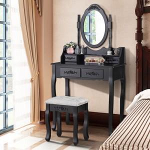 Čierny toaletný stolík s veľkým zrkadlom