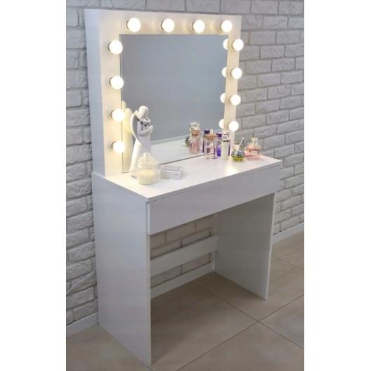 Toaletný stolík so svetielkami bez taburetky
