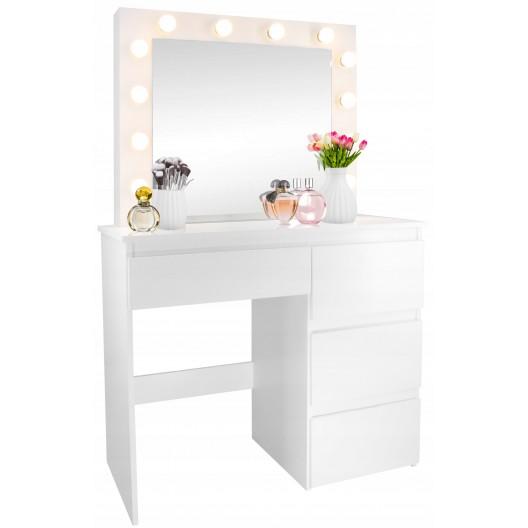 Toaletný stolík so svetielkami a šuflíkmi
