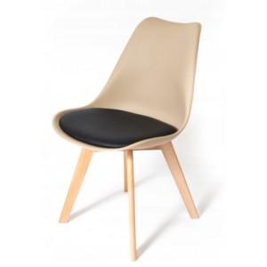 Stolička v béžovej farbe s čiernym podsedákom