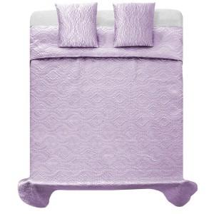 Luxusný saténový svetlo fialový prehoz na posteľ