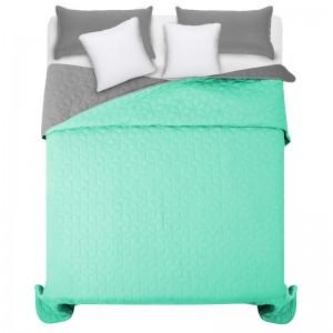 Svetlo zelený prehoz na manželskú posteľ s diamantovým vzorom
