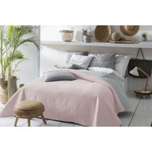 Obojstranný prehoz na posteľ svetlo ružovej farby 200 x 220 cm