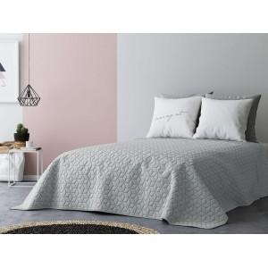 Obojstranný prehoz na posteľ v svetlej sivej farbe 200 x 220 cm