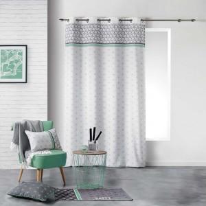 Škandinávske závesy sivej farby s mentolovým prúžkom 140 x 280 cm
