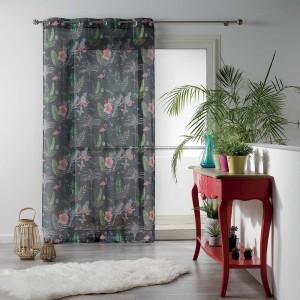 Záclona sivej farby s letnou potlačou PARADIZIO