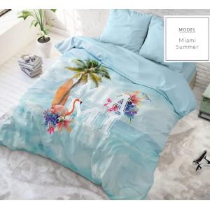 Bavlnené modré posteľné obliečky s letným motívom