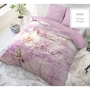 Luxusné bavlnené posteľné obliečky fialovej farby s nápisom