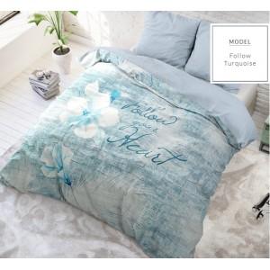 Tyrkysové posteľné obliečky s nápisom z bavlny