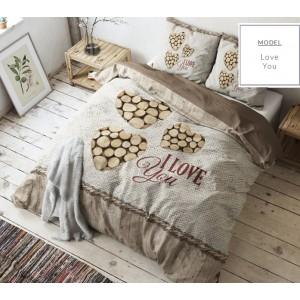 Hnedé posteľné obliečky s motívom dreva a nápisom I Love You 200  x 200 cm