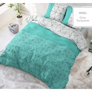 Moderné posteľné obliečky so vzormi v tyrkysovo sivej farbe