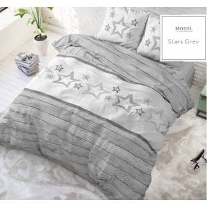Moderné sivé posteľné obliečky s hviezdami