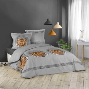 Bavlnené obliečky na posteľ sivej farby s tigrom JACANA 200 x 220 cm