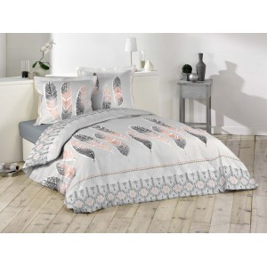 Sivé detské posteľné obliečky s pierkami 200 x 220 cm