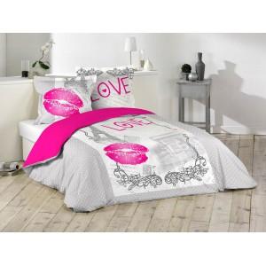 Sivé obliečky na posteľ s ružovou pusinkou 200 x 220 cm