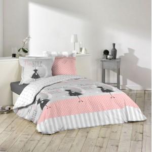 Súprava bavlnených posteľných obliečok sivej farby 200 x 220 cm