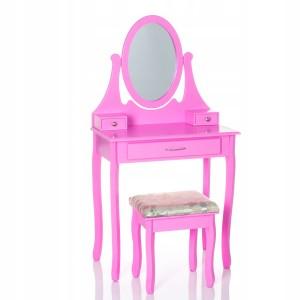 Ružový toaletný stolík s taburetkou