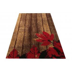 Originálny koberec v hnedej farbe s červeným kvetom