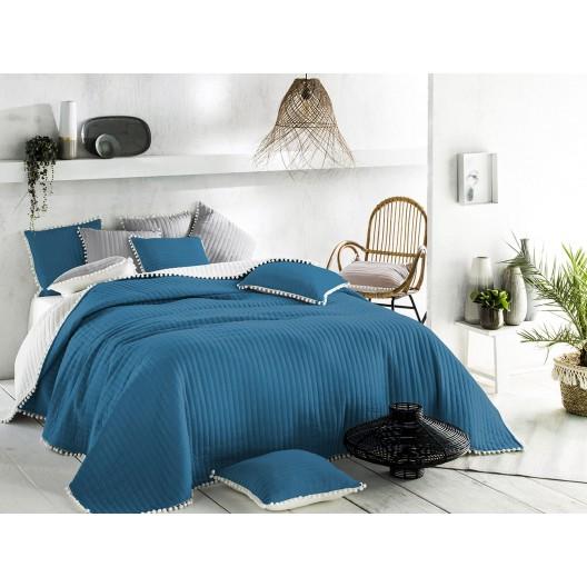Kvalitný modrý prehoz na posteľ 200 x 220 cm