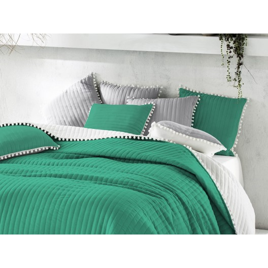 Obojstranný zelený prehoz na posteľ 170 x 210 cm