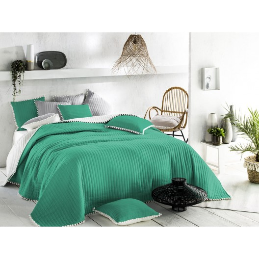 Obojstranný zelený prehoz na posteľ 200 x 220 cm