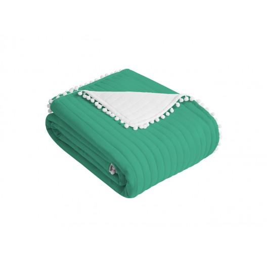 Obojstranný zelený prehoz na posteľ 220 x 240 cm