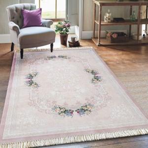 Jemný ružový koberec s nízkym vlasom