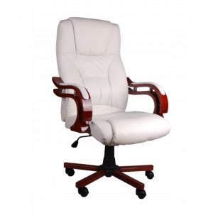 Biele kancelárske kreslo s masážnou funkciou
