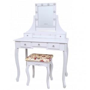 Toaletný stolík so zrkadlom so zabudovanými led svetielkami