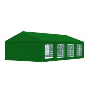 Zelený párty stan s oknami a dverami na zips