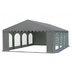 Praktický párty stan s oknami v sivej farbe