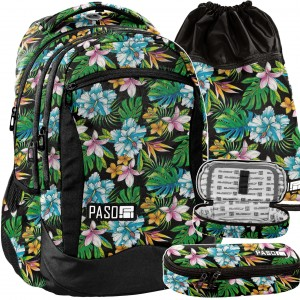 Čierna školská taška s kvetinovým motívom