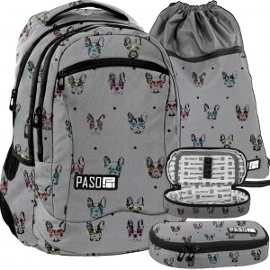 Sivý batoh pre dievčatá s peračníkom a vreckom