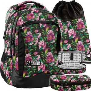 Čierny školský set s ružovými kvetmi
