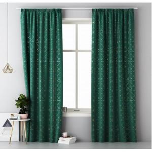 Smaragdovo zelené škadinávske závesy na riasiacu pásku 140 x 280 cm