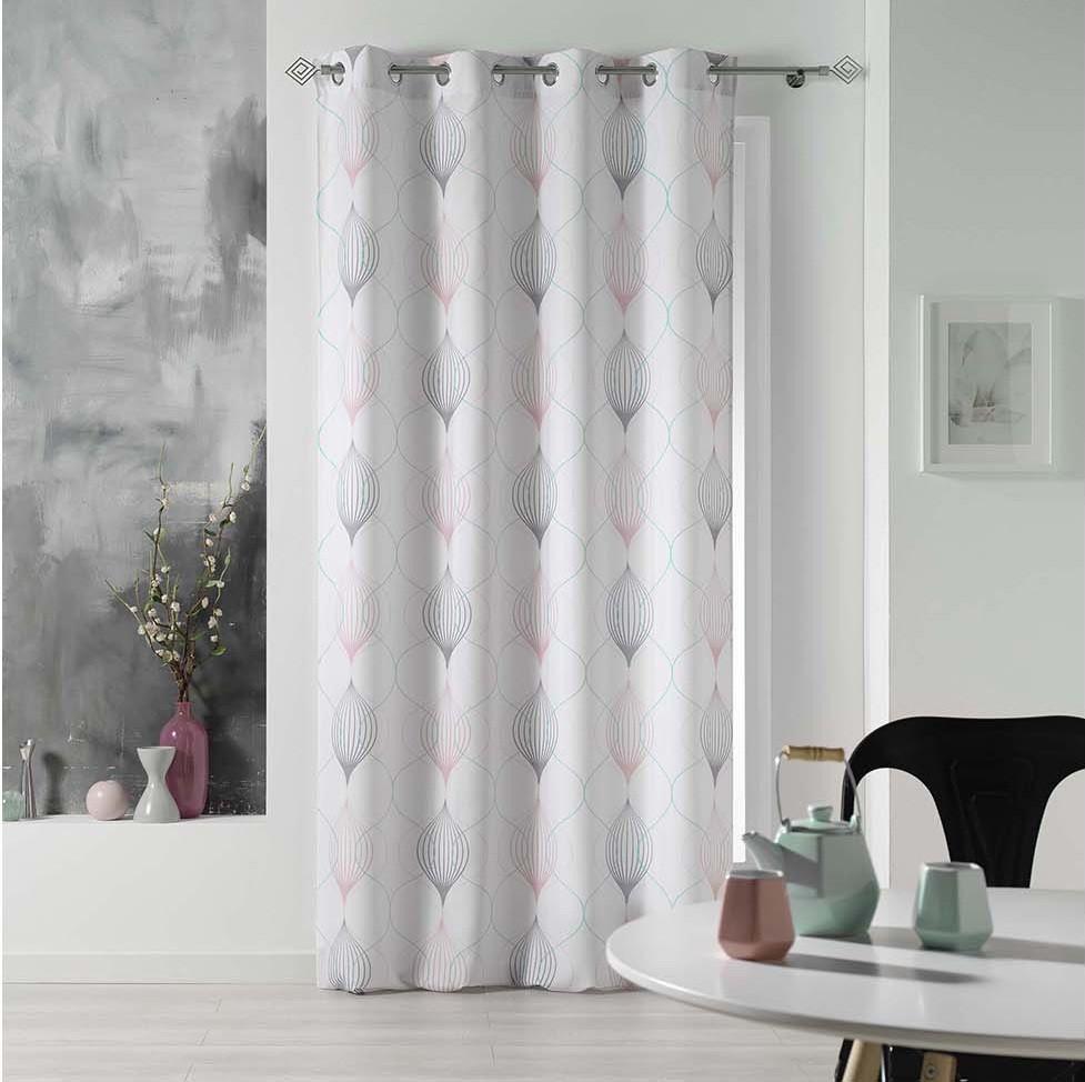 Biele závesy na okná s jemným vzorom 140 x 260 cm